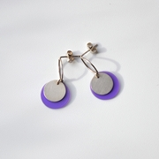 medium purple oval top earrings