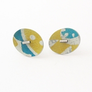 oval yellow/blue studs