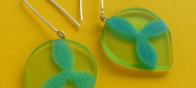 Lime and turquoise large petal drop earrings by Carla Edwards