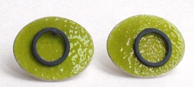 Green oval enamel earrings by Annabet Wyndham