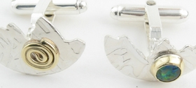 Silver and opal halved cufflinks by John Field