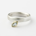 Silver, 18k gold and aquamarine ring by Sue Lane