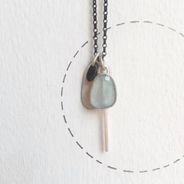 Aquamarine and tag necklace