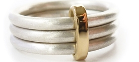Silver and 18k gold ring by Sue Lane