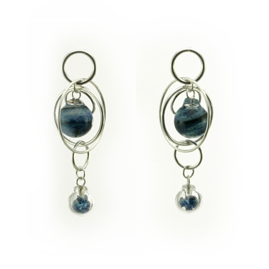 Aventurine Blue Double Bubble Earrings