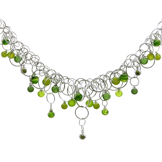 aventurine-green-28-bubble-flame-worked-blown-glass-sterling-silver-neckpiece-by-Charlotte-Verity