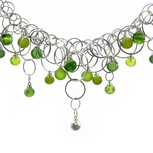 aventurine-green-28-bubble-lamp-worked-blown-glass-sterling-silver-neckpiece-close-up-by-Charlotte-V
