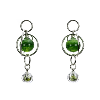 Aventurine-green-lamp-worked-blown-glass-double-bubble-earrings-with-peridot-cz-by-Charlotte-Verity