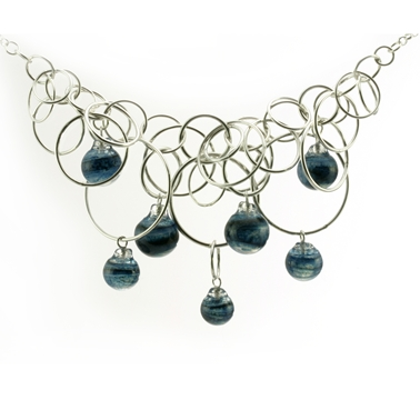 Aventurine Blue Seven Bubble Necklace