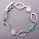 coin and aquamarine bead link bracelet