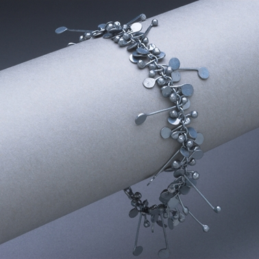 Blossom wire bracelet, oxidised
