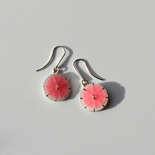 pink and cream flower design earrings