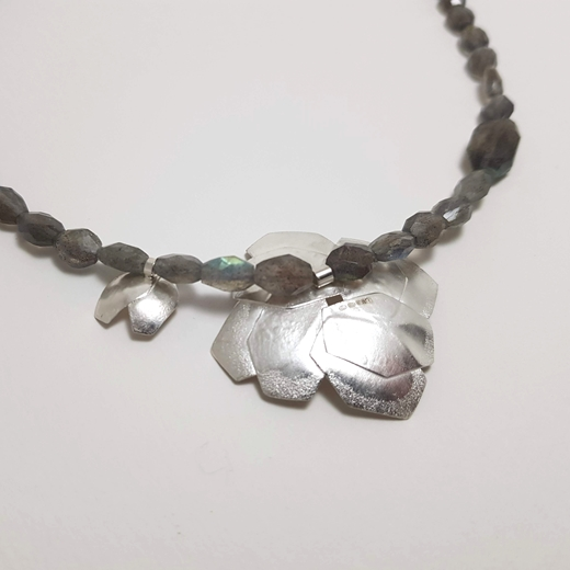 back of double hydrangea necklace