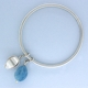 Beech mast bangle with aquamarine drop