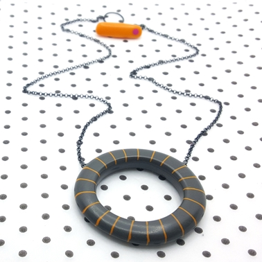 Big hoop pendant - charcoal with orange stripes