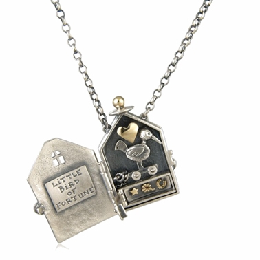 Little bird of fortune locket contemporary necklaces pendants display image aloadofball Choice Image