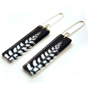 Black fern stick earrings