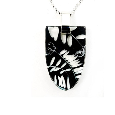 Black Vetch | Shield Pendant | Recycled Perspex