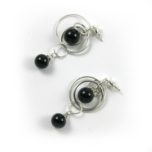 Black Double Bubble Earrings 2