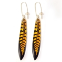 Black and gold fern earrings