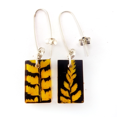 black and Gold fern earrings Sue Gregor