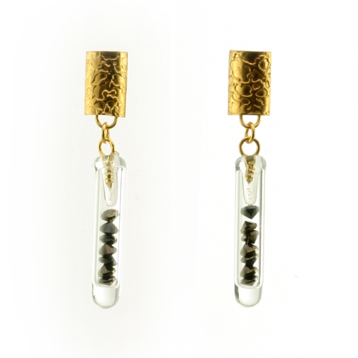 Small Drop Earrings Black and Gold