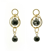 Black Swirl Double Bubble Earrings Gold Plated