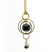 Black Swirl CZ Double Bubble Pendant Gold Plated