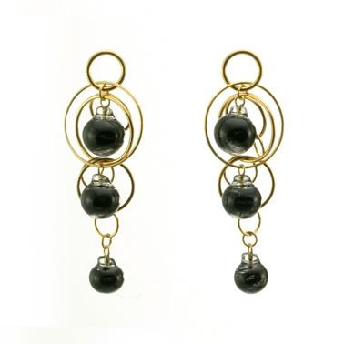 Black Swirl Triple Bubble Earrings Gold Plated