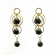 Black Swirl Triple Bubble Earrings Gold