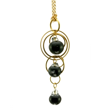 Black Swirl Triple Bubble Pendant Gold Plated
