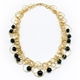 Black Swirl Bubble Multilink Necklace Gold plated