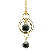 Black Swirl Double Bubble Pendant Gold Plated