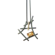 Black and gold small rutile formation pendant - emerald cut citrine - front view
