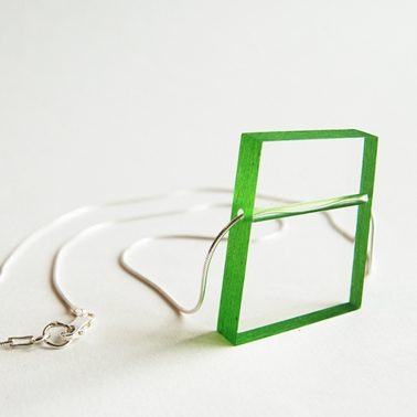 green block necklace