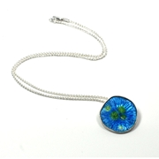 Bloom blue enamel pendant