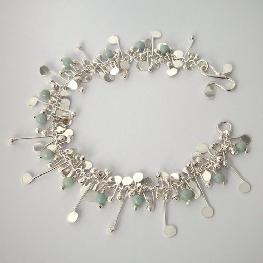 Blossom wire bracelet with amazonite, polished by Fiona DeMarco