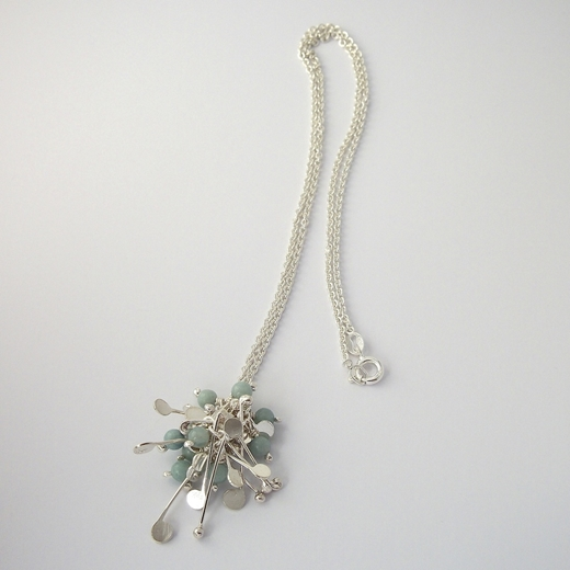 Blossom wire cluster pendant with amazonite, polished by Fiona DeMarco