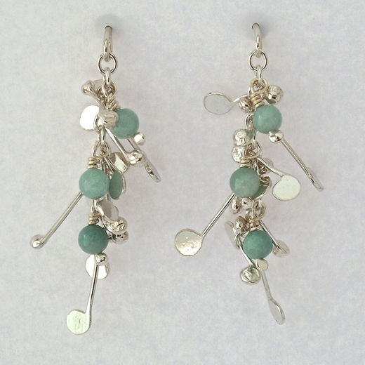 Blossom wire stud earrings with amazonite, polished by Fiona DeMarco
