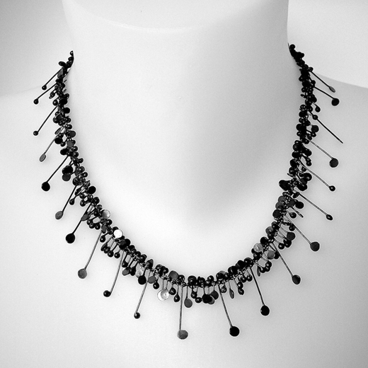 Blossom necklace, oxidised