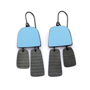 blue two part stripe earrings