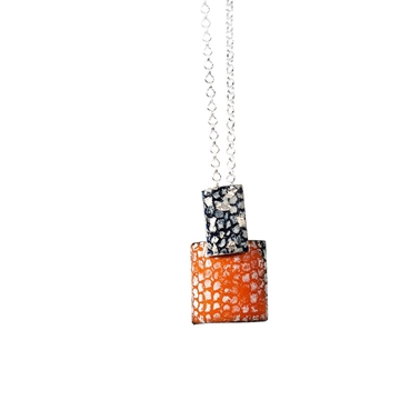 Rectangle and Square Drop Pendants - Blue, Silver and Tangerine