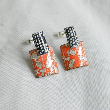 Blue, Tangerine and Silver Rectangle Stud Drop Earrings