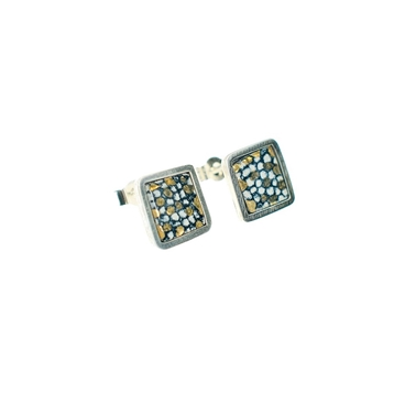 Blue and Gold Square Framed Studs