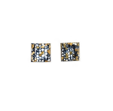 Blue and Gold Square Curved Studs