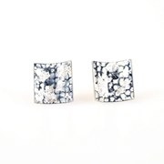 Blue and Silver Square Curved Studs