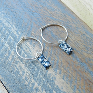 Blue and Silver Mini Rectangle Curved Hoops