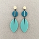 Long drop leaf earrings - Teal/Mint