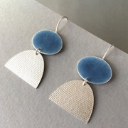 Blue grey oval hooks with silver half oval