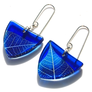 Blue skeleton tri earrings